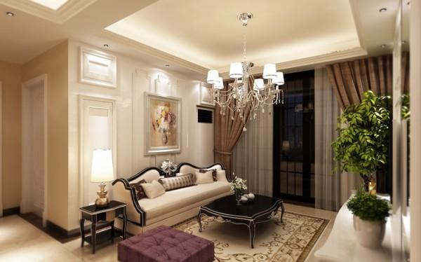 客厅设计: 整洁的空间色调明亮而清新,紫色的坐踏雅致而贵气,柔软舒适的材质中流淌着家的温暖。