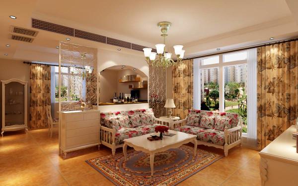 客厅—— 客厅中小碎花的沙发与浅蓝色碎花背景墙遥相呼应,以橘色纹理地砖来铺设客厅地面,在会客区再铺上一块别致地毯,清新田园风的客厅就这样呈现出来。