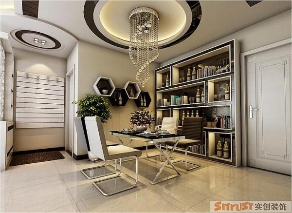 银基王朝 三居室 后现代风格 装修设计案例 效果图-餐厅设计: 餐厅的设计仍然以设计核心为主,黑白搭配,集现代感与实用性于一体。