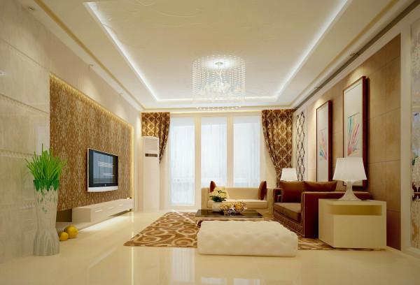 升龙国际中心小区 138平三居室 现代简约风格 装修设计案例 效果图-客厅设计方案