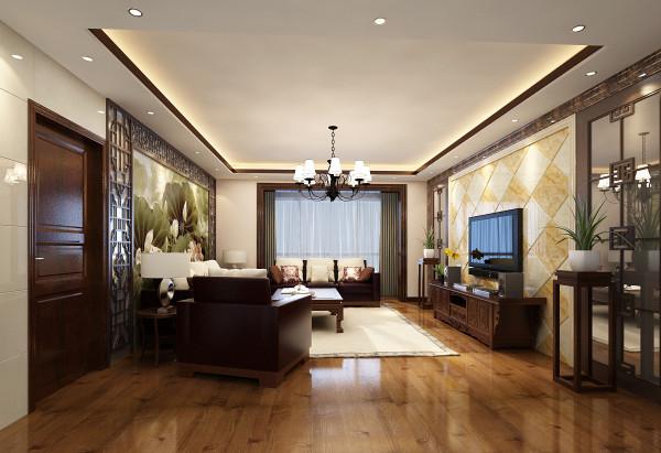 墙面上主要通过沙发背景墙的大面积中式壁纸以及电视背景墙淡雅的石材图片