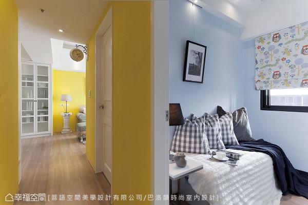 过小而显得尴尬、难以使用的房间,设计总监邱伊娴妥善预留线路并规划衣柜,未来加上床铺即可变成小孩房。