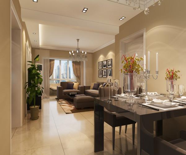 正商恒钻 89平米两居室 现代简约风格 装修设计案例 装修效果图-餐厅设计方案