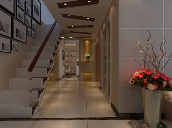 恒通新城 170平复式户型 装修设计案例 效果图-客厅-楼梯设计方案