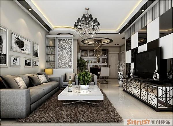 银基王朝 三居室 后现代风格 装修设计案例 效果图-客厅设计: 客厅黑白的主色调搭配,颜色形成鲜明的对比,美观大方、简洁而又时尚。
