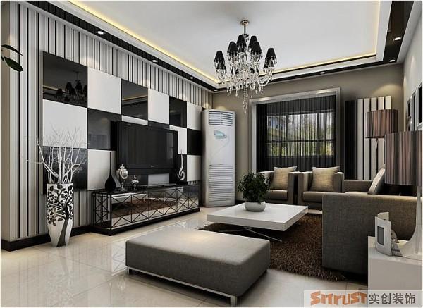 银基王朝 三居室 后现代风格 装修设计案例 效果图-客厅设计: 从客餐厅的整体搭配来说,该案属于后现代的设计风格,利用了2个很经典的颜色搭配,白色和黑色,现代设计追求的是空间的实用性和灵活性。