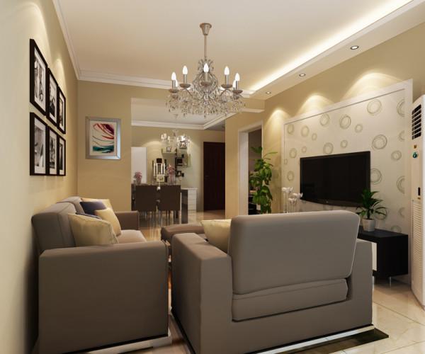 正商恒钻 89平米两居室 现代简约风格 装修设计案例 装修效果图-客厅设计方案
