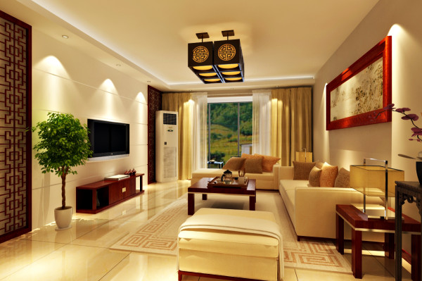 阅山公馆 127平三居室 新中式风格 装修设计案例 效果图-客厅