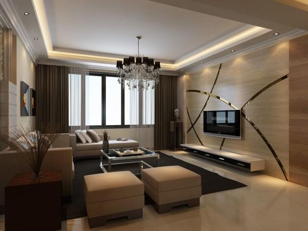 海马公园 三居室139平米 现代简约风格 装修设计案例 效果图-客厅