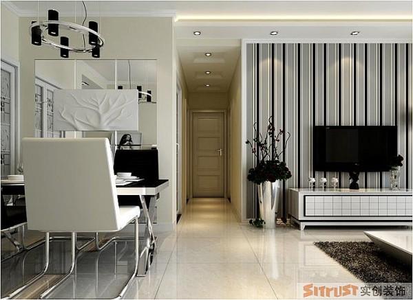 永恒理想公园 90平两居室 现代简约风格 装修设计案例 效果图-客餐厅
