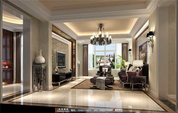 保利心语客厅细节效果图----高度国际装饰设计