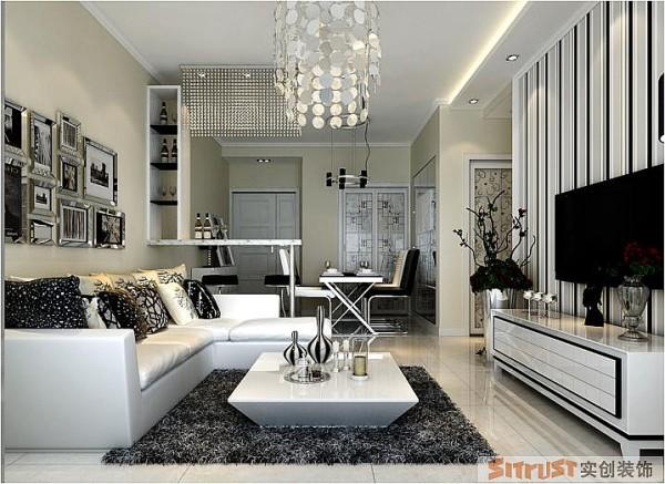 永恒理想公园 90平两居室 现代简约风格 装修设计案例 效果图-客厅