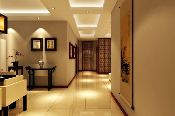 阅山公馆 127平三居室 新中式风格 装修设计案例 效果图-走廊