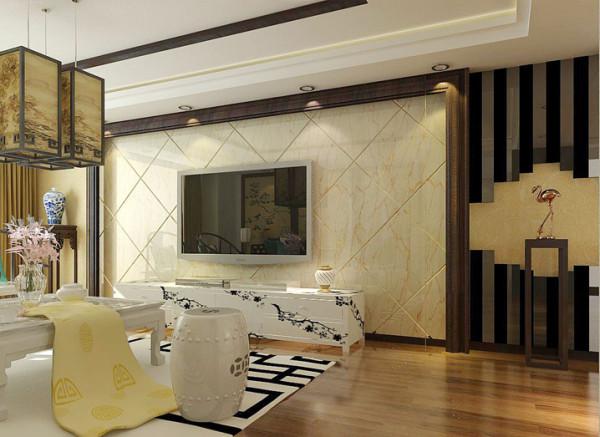整体色调为浅色,乳胶漆与壁纸的结合并用深色木压条使空间看起来沉稳,再加以抱枕的淡蓝色点缀,时尚感倍增,完美的融合了中式风格的典雅与现代风格的清新时尚。