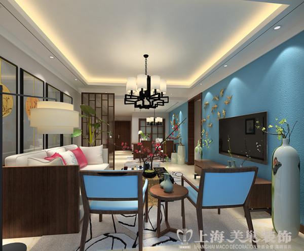 亚太花园120平装修新中式三室两厅样板间效果图——客厅布局效果图