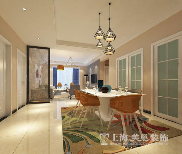 圣堤亚纳134平现代简约装修三室两厅样板间效果图——餐厅视角布局
