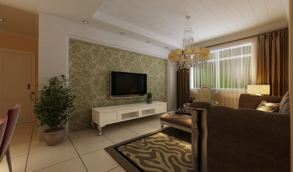 宏光蓝水岸 89平两居室 现代简约风格 装修设计案例-客厅