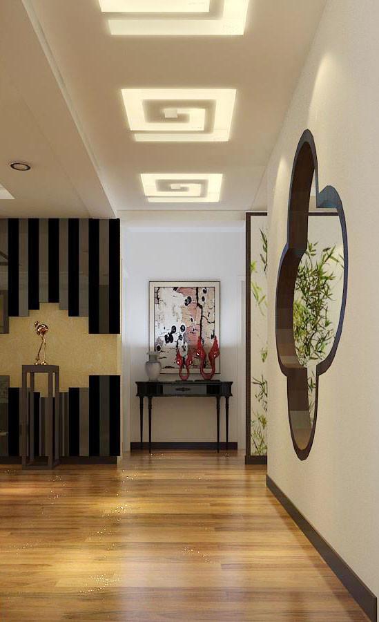宽边的木压条收边,石材的斜铺以及镜面与线条的结合勾勒出了新中式风格的雅致与时尚感。使空间看起来既充满韵味又不古板。