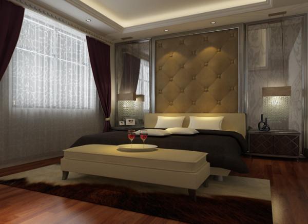 银河丹堤 130平三居室 欧式风格 装修设计案例 -卧室