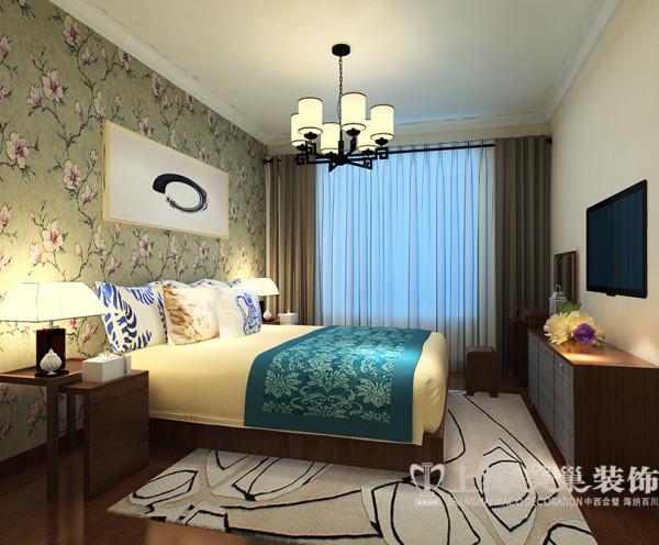 亚太花园装修三室两厅120平新中式案例效果图——卧室全景,以乳胶漆为主,与深色家具的尊贵稳重,乳胶漆的朴素大方来装饰墙面,创造一个温馨优雅的读书环境。