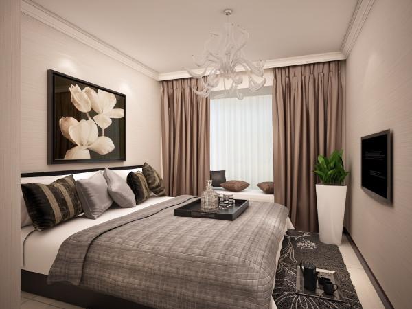 卧室设计依旧不脱离整体色调,极简的设计,摈弃了过多造型,只用具有设计感的灯具来起装饰效果,绿植赋予空间鲜活的生命气息。