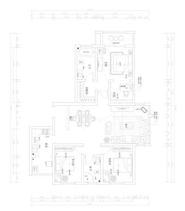 卢浮宫馆 158平三居 古典欧式风格 装修设计案例-户型图