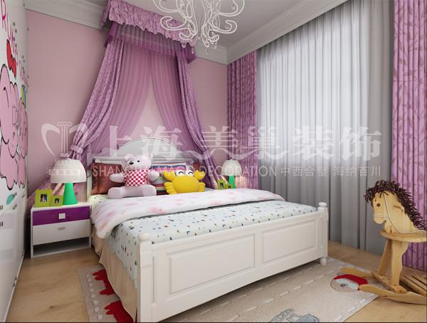 东润朗郡三居室户型装修140平简约现代效果图案例——女孩房,简洁明快的色调,材质运用乳胶漆。