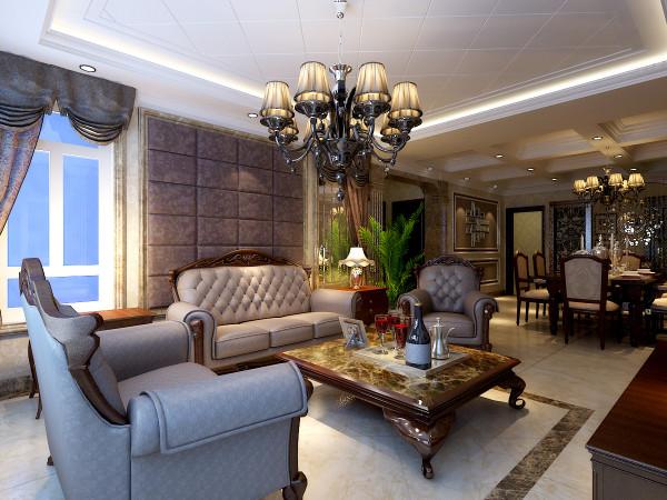 卢浮宫馆 158平三居 古典欧式风格 装修设计案例-客厅