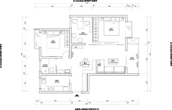 郑州银行家属院三室两厅户型100平居室装修设计案例——平面布局方案