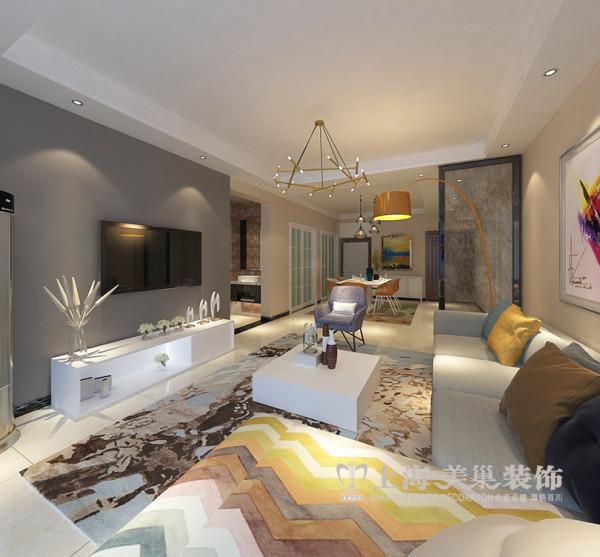 财信圣堤亚纳134平三室两厅装修现代简约效果图——客厅全景效果图,设计中并没有给予更直接的空间划分,而是在顶面吊顶给予简单的划分,是整个空间不失大气