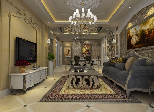 银河丹堤 130平三居室 欧式风格 装修设计案例 -客厅