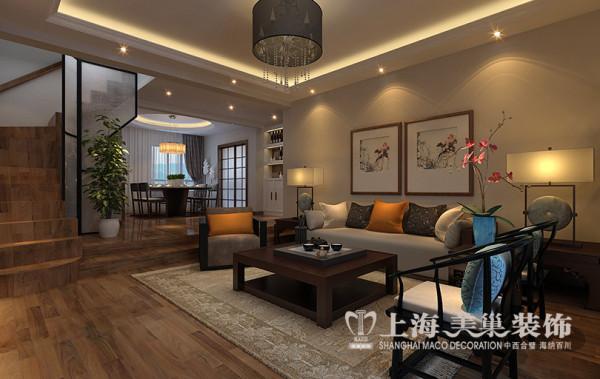 专家花园5居室装修设计新中式风格案例鉴赏——客餐厅效果图