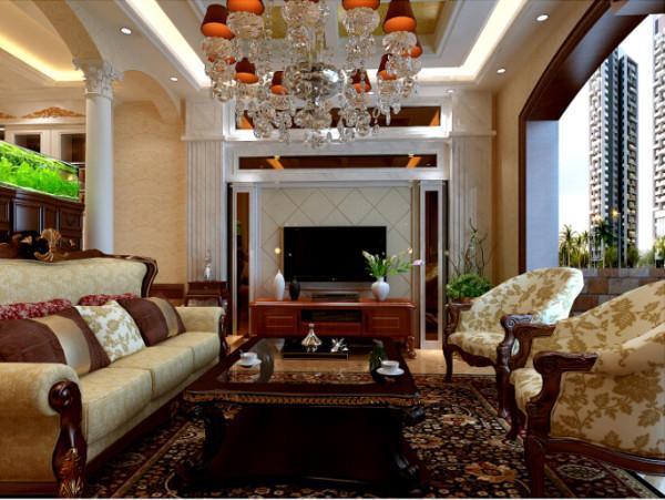 龙泊圣地 220平大宅装修 经典欧式风格 装修设计案例-客厅
