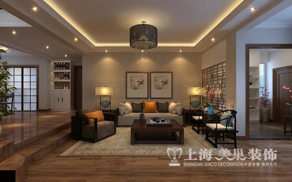 专家花园新中式风格装修设计案例五室两厅200平户型居室效果图——沙发背景墙