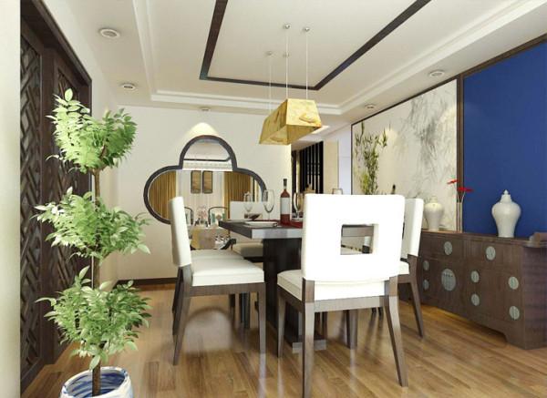 将模糊的空间界限进行了具体的分隔,运用中式风格的隔断将餐厅与客厅分隔。