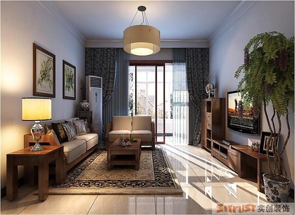 锦艺国际华都 140平三居 新中式风格 装修设计案例-客厅 装饰古朴风范的陈设,作为空间的引导,从而表现出清新古朴的新中式风格。