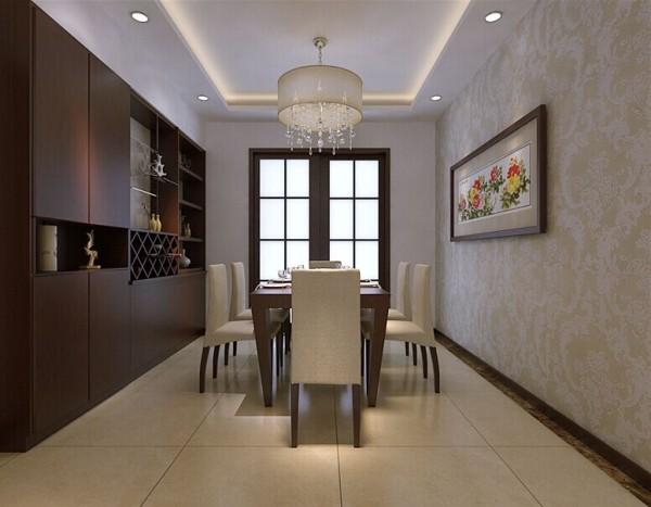 国龙水岸花园 150平三居室 中式风格 装修设计案例-餐厅