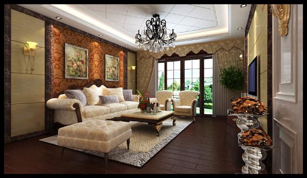 正商书香华府 118平三居室 奢华欧式风格 装修设计案例-客厅方案设计