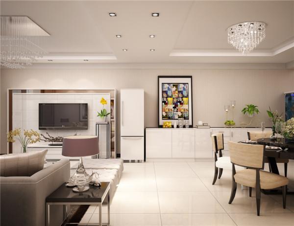 用吊頂造型分割客廳與餐廳的空間