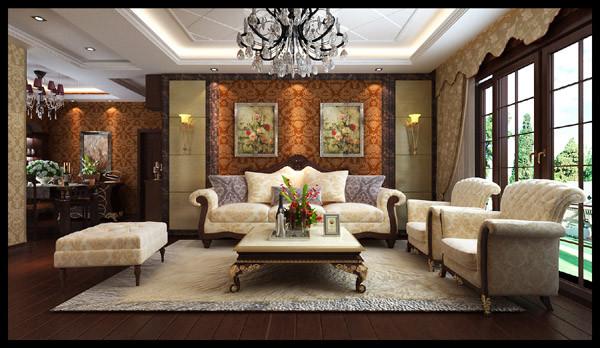 正商书香华府 118平三居室 奢华欧式风格 装修设计案例-客厅沙发背景墙方案设计