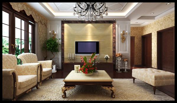 正商书香华府 118平三居室 奢华欧式风格 装修设计案例-客厅电视背景墙方案设计