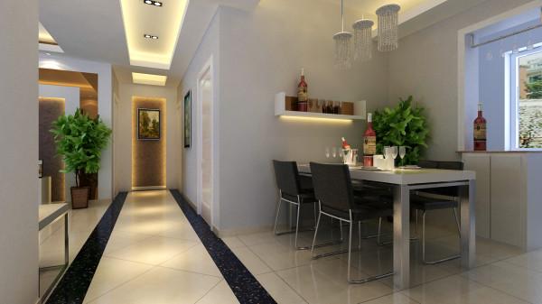 锦艺国际华都 83平米两居室 现代简约风格 家装设计案例-餐厅