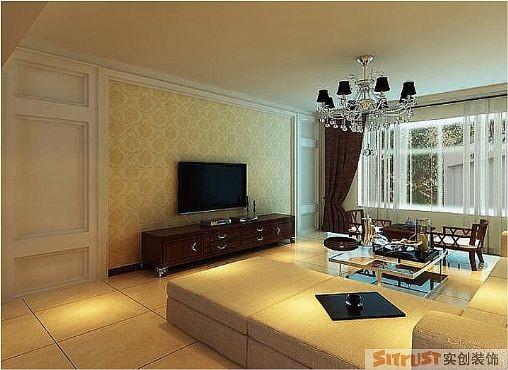 电视背景墙造型采用对称的形式来体现中式风格,现代华丽的吊灯与白色的沙发,又与之结合的那么完美,置身其中,让人身心放松。
