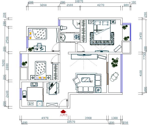 锦艺国际华都 83平米两居室 现代简约风格 家装设计案例-户型图