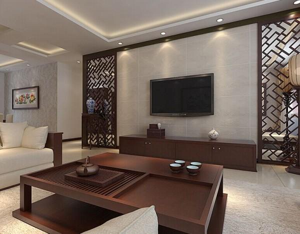 国龙水岸花园 150平三居室 中式风格 装修设计案例-电视背景墙