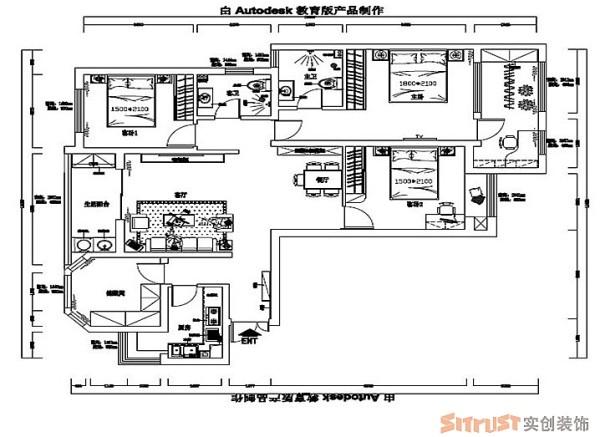 锦艺国际华都 140平三居 新中式风格 装修设计案例 户型平面布置图