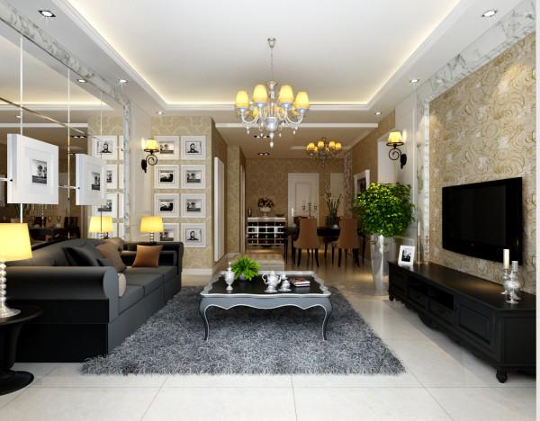客厅电视背景墙的雪花白大理石与淡咖啡色壁纸搭配发出的是时尚,温馨的现代简欧味道,