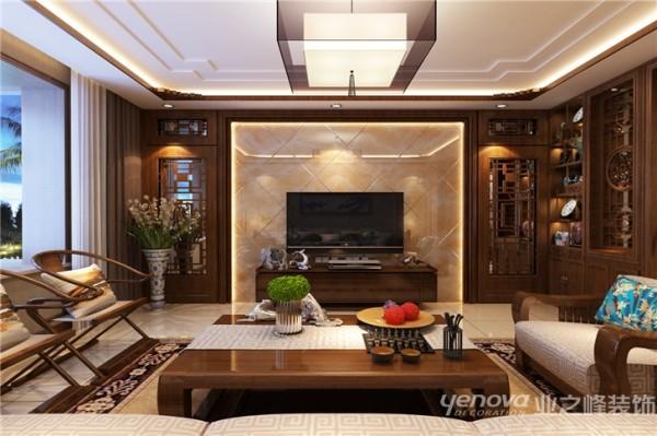 """根据业主的喜好,本案设计的主题是""""现代奢华,简约中式,沉稳大气""""。没有壁纸的铺装, 白色纯净的墙面,电视墙华丽的石材纹理,香艳暗红的木质线条,婉约奢华的中式灯,让人有一种醉心,香暖入境之感。"""