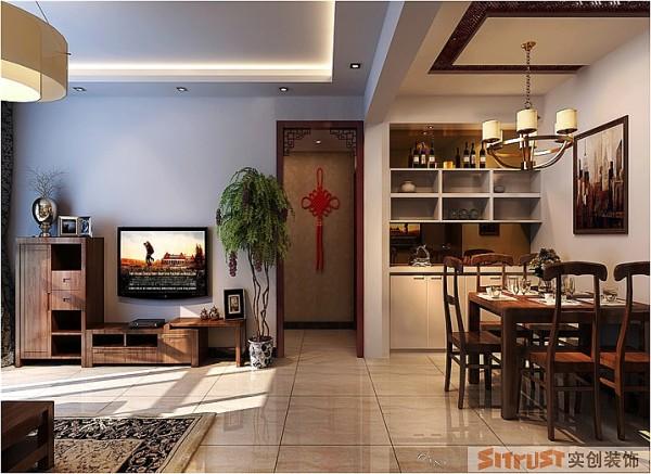 锦艺国际华都 140平三居 新中式风格 装修设计案例-客厅 以中式元素来表现风格特点。