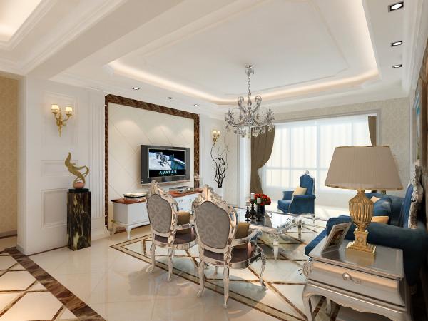 客厅电视背景墙选择米色瓷砖和深褐色壁纸搭配。同时又用石膏板做了对称罗马柱造型。凸显了西式文化底蕴,让整个客厅简化了线条,凸显简练美,出力塑造尊贵又不失高雅的居家情调。
